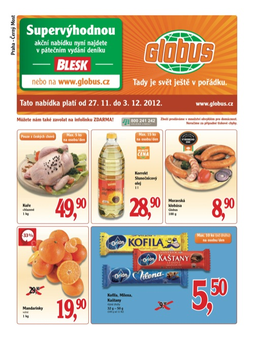 Leták Globus novinky (od 27. 11. do 3. 12. 2012)