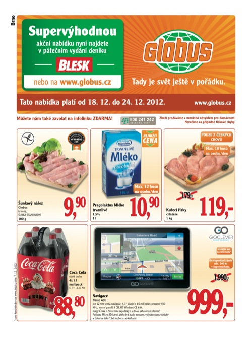 Leták Globus novinky (od 18. 12. do 24. 12. 2012)