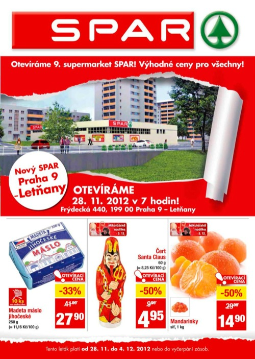 Leták INTERSPAR spar (od 28. 11. do 4. 12. 2012)