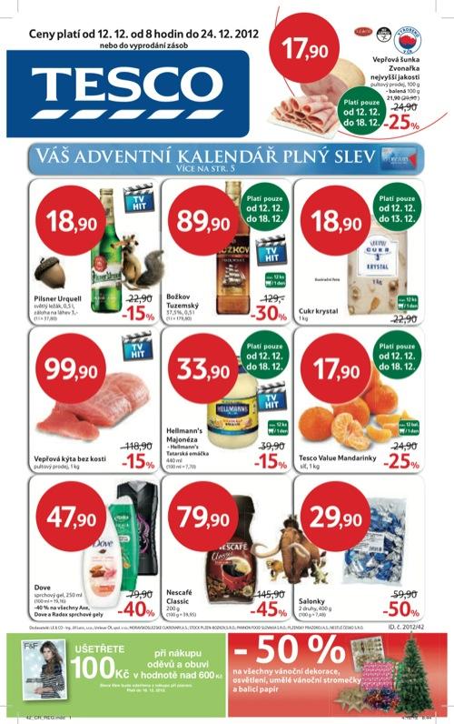 Leták Tesco hypermarket velký (od 12. 11. do 24. 12. 2012)