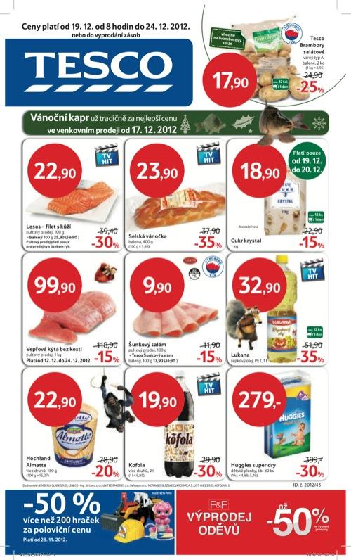 Leták Tesco hypermarket velký (od 19. 12. do 24. 12. 2012)