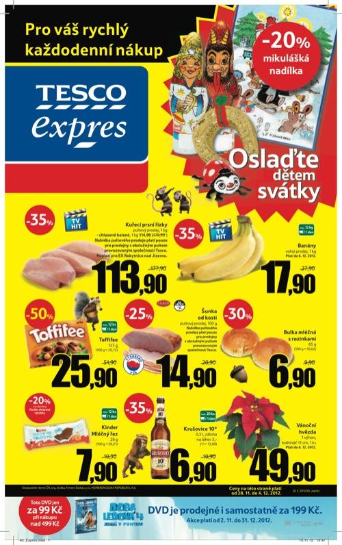 Leták Tesco expres (od 28. 11. do 4. 12. 2012)