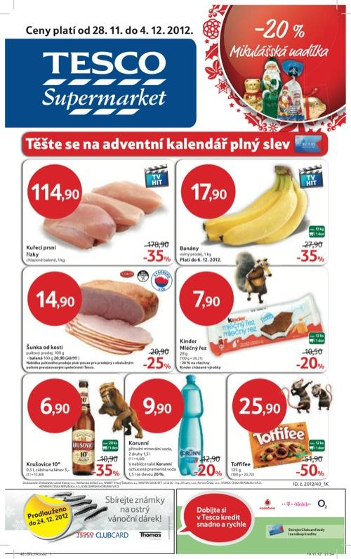 Leták Tesco supermarket (od 28. 11. do 4. 12. 2012)