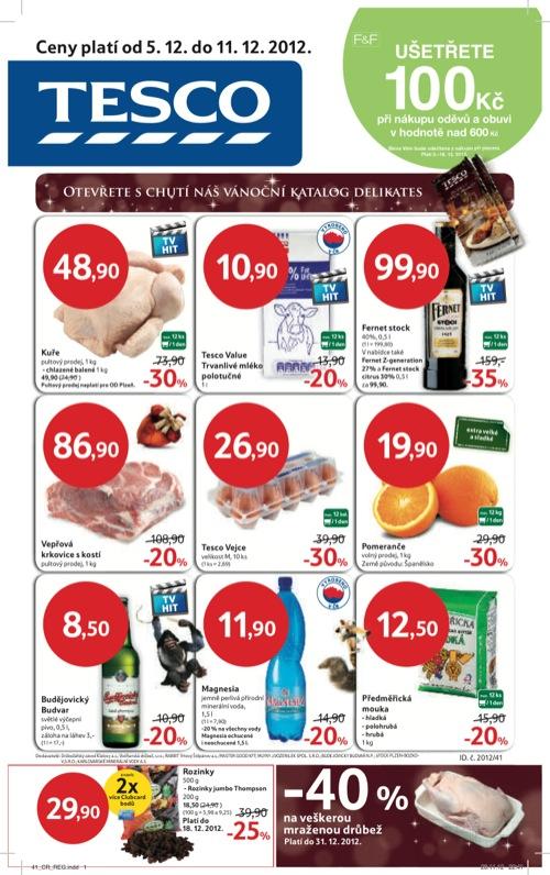Leták Tesco hypermarket velký (od 5. 12. do 11. 12. 2012)