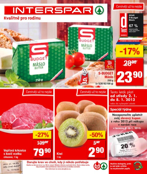 Leták INTERSPAR  (od 2. 1. do 8. 01. 2013)