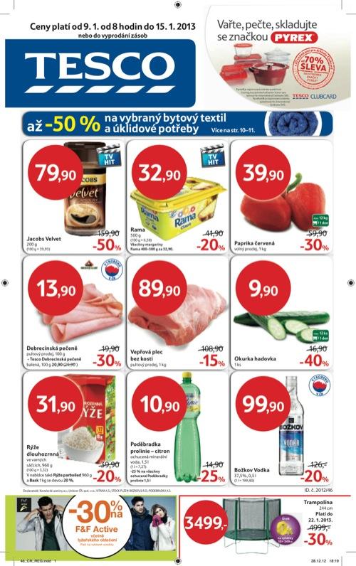 Leták Tesco hypermarket velký (od 9. 1. do 15. 01. 2013)