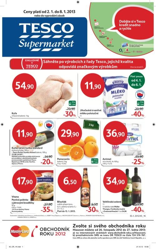 Leták Tesco supermarket (od 2. 1. do 8. 01. 2013)