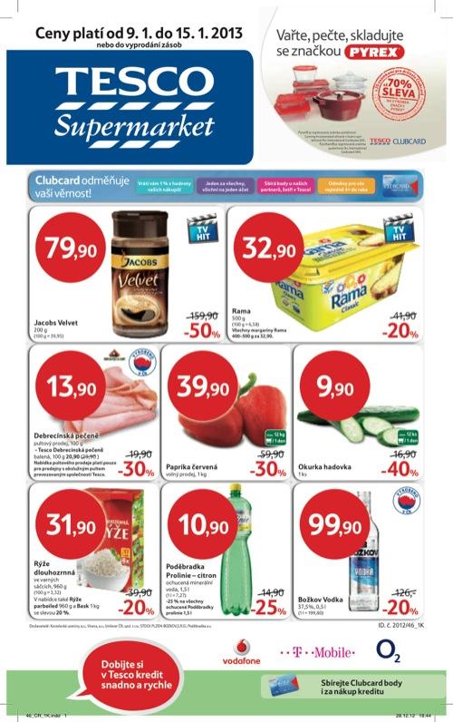 Leták Tesco supermarket (od 9. 1. do 15. 01. 2013)