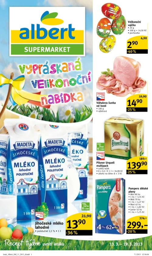 Leták Albert supermarket (od 13. 3. do 19. 03. 2013)