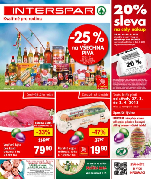 Leták INTERSPAR  (od 27. 3. do 2. 04. 2013)