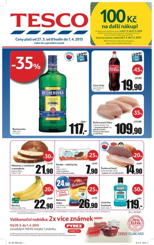 Leták Tesco hypermarket velký (od 27. 3. do 1. 04. 2013)