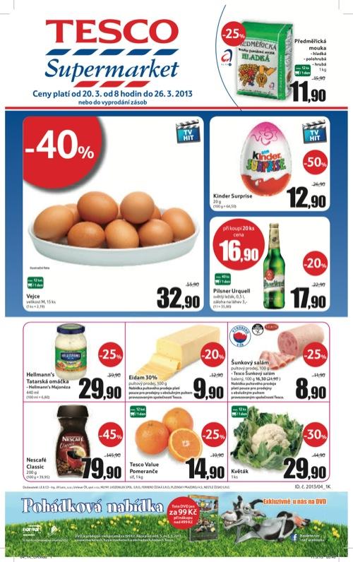 Leták Tesco supermarket (od 20. 3. do 26. 03. 2013)